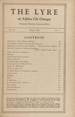 The Lyre of Alpha Chi Omega, Vol. 37, No. 3, April 1934
