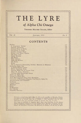 The Lyre of Alpha Chi Omega, Vol. 38, No. 2, January 1935