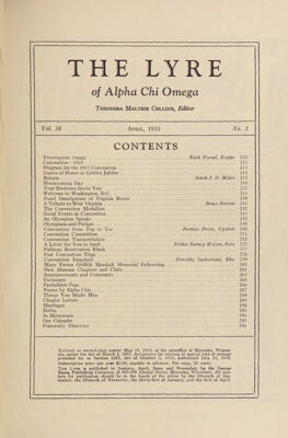 The Lyre of Alpha Chi Omega, Vol. 38, No. 3, April 1935