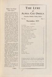 The Lyre of Alpha Chi Omega, Vol. 39, No. 1, November 1935