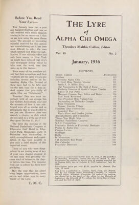 The Lyre of Alpha Chi Omega, Vol. 39, No. 2, January 1936