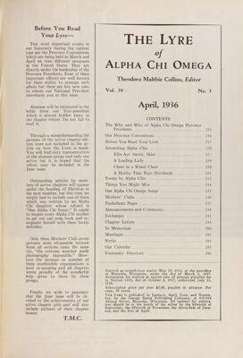 The Lyre of Alpha Chi Omega, Vol. 39, No. 3, April 1936