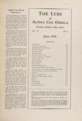 The Lyre of Alpha Chi Omega, Vol. 39, No. 4, June 1936