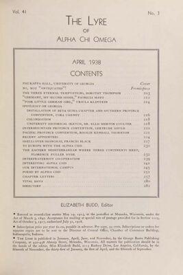 The Lyre of Alpha Chi Omega, Vol. 41, No. 3, April 1938