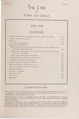 The Lyre of Alpha Chi Omega, Vol. 41, No. 4, June 1938