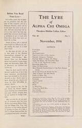 The Lyre of Alpha Chi Omega, Vol. 40, No. 1, November 1936