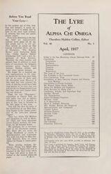 The Lyre of Alpha Chi Omega, Vol. 40, No. 3, April 1937