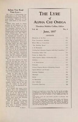 The Lyre of Alpha Chi Omega, Vol. 40, No. 4, June 1937