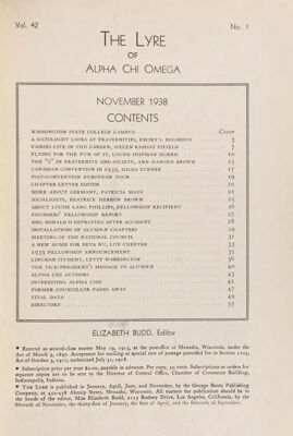 The Lyre of Alpha Chi Omega, Vol. 42, No. 1, November 1938