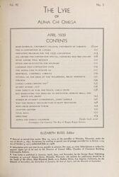 The Lyre of Alpha Chi Omega, Vol. 42, No. 3, April 1939