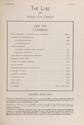 The Lyre of Alpha Chi Omega, Vol. 42, No. 4, June 1939