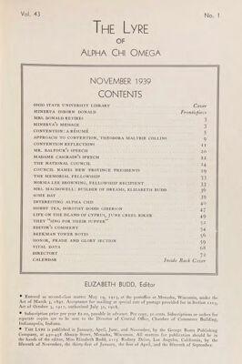 The Lyre of Alpha Chi Omega, Vol. 43, No. 1, November 1939