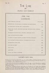 The Lyre of Alpha Chi Omega, Vol. 43, No. 3, April 1940