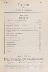 The Lyre of Alpha Chi Omega, Vol. 43, No. 4, June 1940