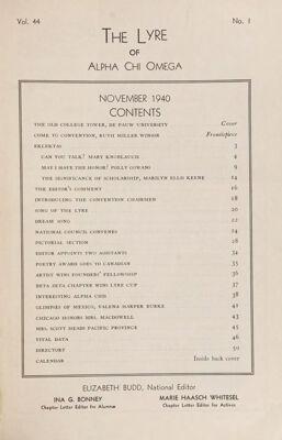 The Lyre of Alpha Chi Omega, Vol. 44, No. 1, November 1940