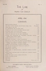 The Lyre of Alpha Chi Omega, Vol. 44, No. 3, April 1941