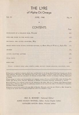 The Lyre of Alpha Chi Omega, Vol. 51, No. 4, June 1948