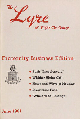 The Lyre of Alpha Chi Omega, Vol. 64, No. 4, June 1961