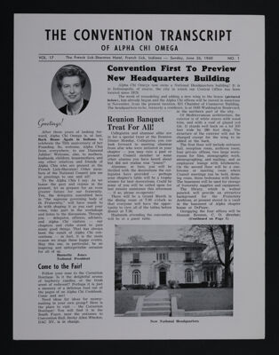 The Convention Transcript of Alpha Chi Omega, Vol. 17, No. 1, June 26, 1960