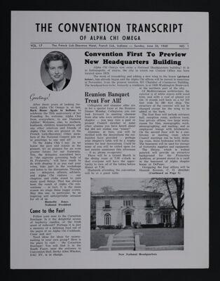 The Convention Transcript of Alpha Chi Omega, Vol. 17, No. 1, June 26, 1960