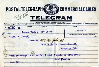 Telegram from Maud Powell, 1908