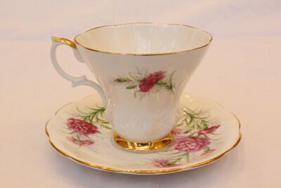 Carnation China Cup and Saucer
