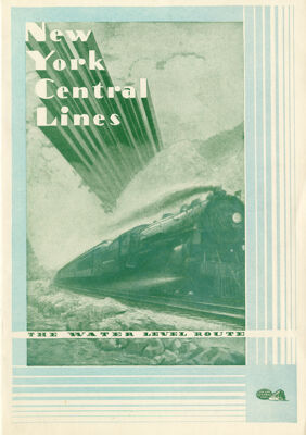 New York Central Lines Train Menu, 1935