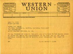 Olive Burnett Clark Telegram, 1955 National Convention