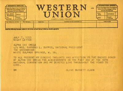 Olive Burnett Clark Telegram, 1955 National Convention