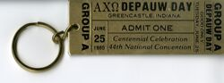 DePauw Day Keychain, Golden Ticket, 1985 National Convention