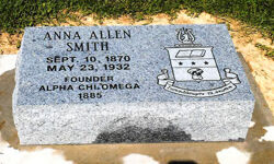Anna Allen Smith, Founder Burial Marker