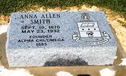 Anna Allen Smith, Founder Burial Marker