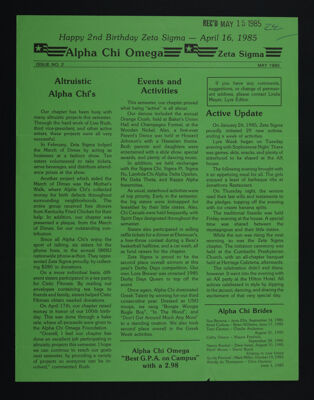 Alpha Chi Omega - Zeta Sigma Newsletter, No. 2, May 1985