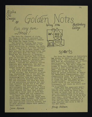 Golden Notes Newsletter, Spring 1986