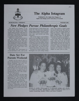 The Alpha Iotagram, Winter 1991