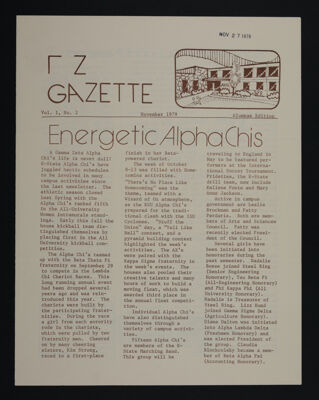 Gamma Zeta Gazette Vol. 1, No. 2, November 1979