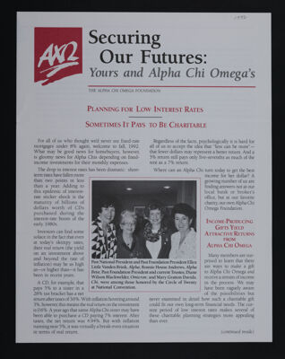 Securing Our Futures: Yours and Alpha Chi Omega's, 1992