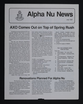 Alpha Nu News, July 1987