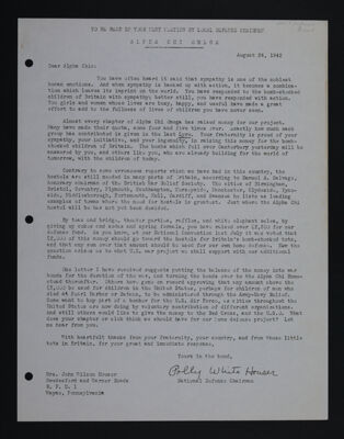 Polly Houser to Alpha Chis Letter, August 24, 1942