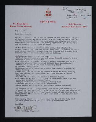 Alisa Waerlop to Mrs. Lange Letter, May 1, 1992