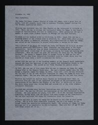 Linda Thomas to Alpha Chis Letter, November 12, 1982