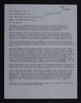 Phyllis Kent to Ellen Vanden Brink Letter, December 9, 1982