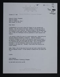 Judy Anderson to Stacie Pierce Letter, October 27, 1991
