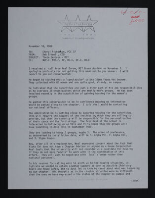 Deb Bidwell to Cheryl Richardson Letter, November 18, 1988