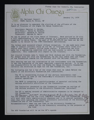Karen Miley to National Council Letter, January 14, 1979