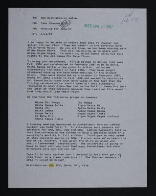 Tami Channell Housing for Zeta Pi Memo, April 14, 1987
