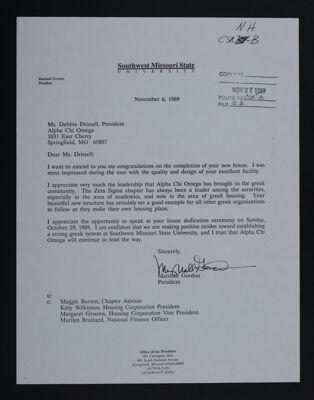 Marshall Gordon to Debbie Drissell Letter, November 6, 1989