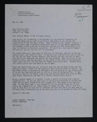 Lenore Lemanski to Charlene Whyte Letter, May 12, 1983