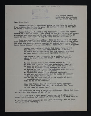 Ruth O. Darragh to Mrs. Clark Letter, March 25, 1949
