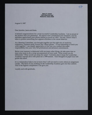 Nancy Leonard to Maude, Schneider and Reed Letter, August 9, 1997